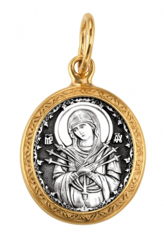 Икона Божией Матери. Семистрельная.Образок. Aртикул 102.206