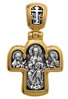 Спас на престоле. Божия Матерь на престоле.Крест нательный. Aртикул 101.027