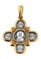 Господь Вседержитель. Казанская икона Божией Матери и восемь святых.Крест нательный Aртикул 101.065.
